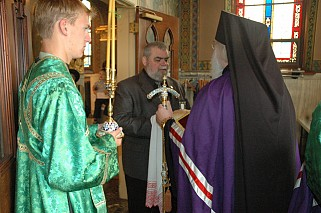 Mr. Frank Tkacz Greets Archbishop JOB